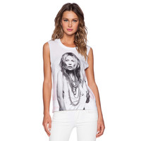 White Kate Moss Print Sleeveless Graphic Tee
