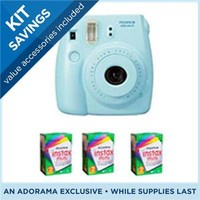 FujiFilm Instax Mini 8 Camera, 62x46mm Picture Size, Blue - Bundle - with Three TwinPacks of Fujifilm Instax Mini Instant Daylight Film, 20 Exposures (Total 60 Sheets)
