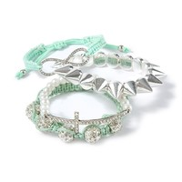 Crystal and Mint Stackable Bracelet Set   | Claire's