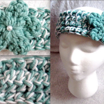 Crochet Teal & White Headband Ear warmer with pearl accent or teal with crystal accent (skinny)