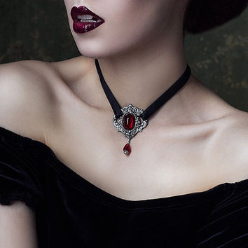Gothic Choker with Red Stone and Black Ribbon - Victorian Gothic Jewelry