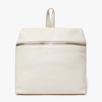 Kara / Pebble Leather Backpack in Off White