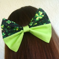 St. Patrick's Day LARGE Hair Bow Two Toned Green Clovers with Sparkles over Bright Green Hair Clip Girls Teen Woman Lorettajos EXCLUSIVE