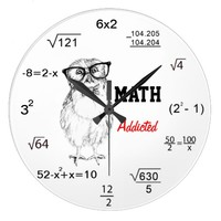 Maths addicted nerdy owl wall clock