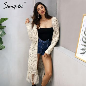 Simplee Elegant knitting long cardigan women sweater Long sleeve tassel white jumper Female knitted hollow out  jersey 2017 new