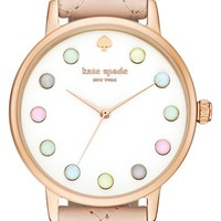 kate spade new york 'metro - rainbow' leather strap watch, 38mm | Nordstrom