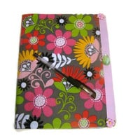Pink and Grey Retro Flower Fabric Covered Journal