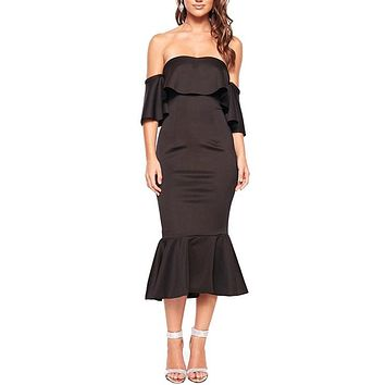 Black Off Shoulder Ruffled Cocktail Dress
