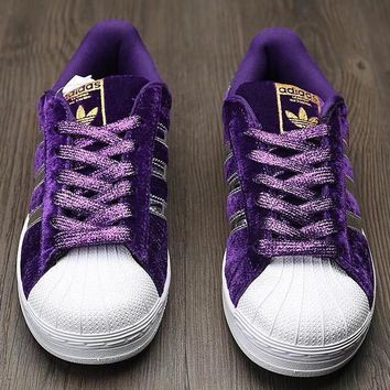 Adidas Shell suede shoes purple