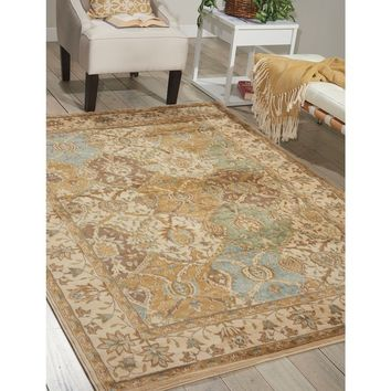 Nourison Modesto Beige Traditional Area Rug (5'3 x 7'3) | Overstock.com Shopping - The Best Deals on 5x8 - 6x9 Rugs