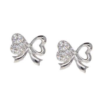 Dear Deer White Gold Plated Heart Butterfly Pierced CZ Stud Earrings
