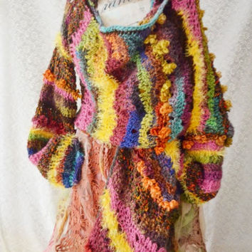 Bohemian cardigan,gypsy,mori girl,fairy,fae,crocheted ,knitted cardigan Life Of Woodland