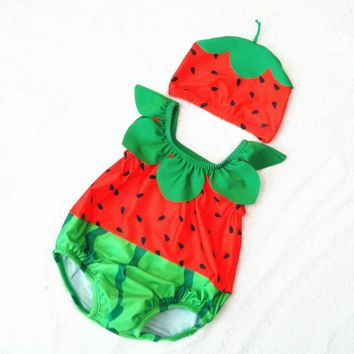 One-piece New Born Baby Boys and Girls Cartoon Fish Dinosaur Watermelon Bathing Suit Infant Swimming Suit with Cap