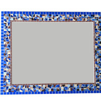 Decorative Wall Mirror in Blues, Browns, Golds