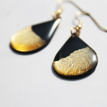 gold drop earrings vinyl record jewelry black and gold jewelry eco design metallic jewelry contemporary jewelry modern earrings gift idea