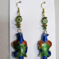 Parrot Earrings Cloisonne, Double Sided Puffed, Handcrafted