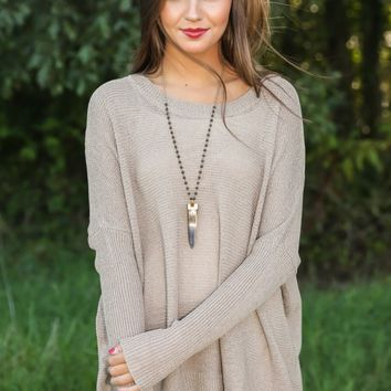Falling Into Place Sweater-Taupe