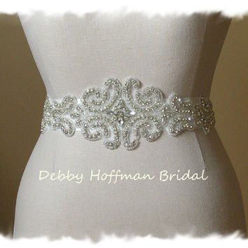 Rhinestone Crystal Bridal Belt  Dress Sash Jeweled Bridal Sas Beautiful sash for the bride holidays or special occasion