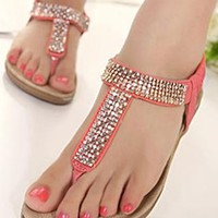 Fashion Cool Bling Roman Style Rhinestone Thong Sandals from shoponline4