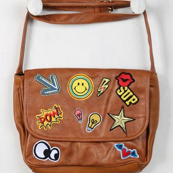 Faux Leather Patches Messenger Bag