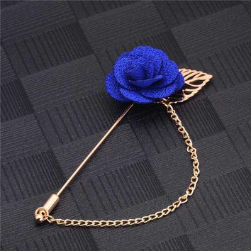 H:HYDE Men & Women 3D Rose Flower Brooch for Suits Winter Coat Collar Gold Leaf Tassel Brooch Pin of Wedding Chain Jewelry