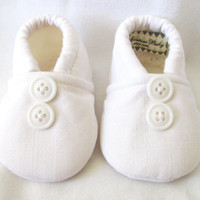 Little Piggies Baby Shoes- Pure White Blessing, Christening, Baptism Baby Boy Shoes With Buttons