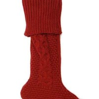 Cable Knit Christmas Stocking Light Burgundy