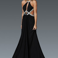 G2142 Jeweled Cut Out Halter Prom Dress
