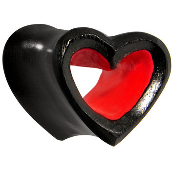 00 Gauge Double Flare Iron Wood Black and Red Heart Tunnel