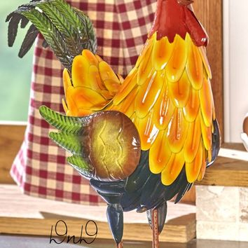 Metal Rooster Animal Sculpture Colorful Indoor/Outdoor Farmhouse Decor Vibrant