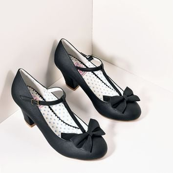 Vintage Style Black Leatherette T-Strap Bow Wiggle Heels