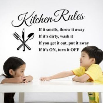 Kitchen Rules Proverbs Removeable Embellished Wall Sticker