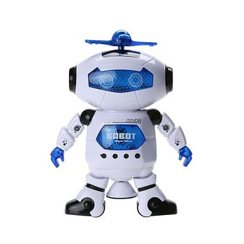 360 Rotating Space Dancing Robot Musical Walk Lighten Electronic Toy Robot Christmas Birthday Gift Toy for Children Kids