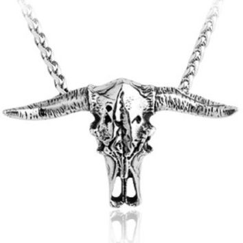 Moon Wings Vintage Bison Skull Stainless Steel Men's Pendant with Necklace