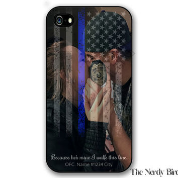 Customize with Your Own Photo Thin blue line American flag iPhone 4, 5, 5c, 6 and 6 plus and Samsung Galaxy s3, s4 and s5 phone case