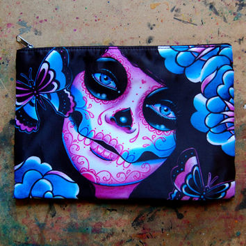 Memento Cosmetic Bag - Day of the Dead Dia De Los Muertos Tattoo Flash Sugar Skull Art Make Up Pencil Zipper Pouch 9in x 6in Double Sided