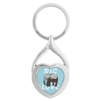 Big Love: Paisley Elephant Cute Key Chains: Wild Animal Girly Design Keychains for Women