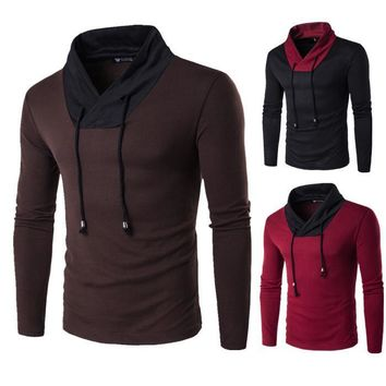 Men Hot Sale Men's Fashion Pullover Round-neck Needles Tops Bottoming Shirt [10669405699]