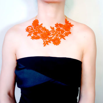 orange lace bib necklace  - hand dyed - flower charm - retro vintage  - Fabric jewelry gift