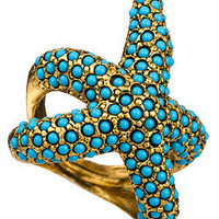 Max & Chloe - Kenneth Jay Lane Turquoise Starfish Ring - Max and Chloe