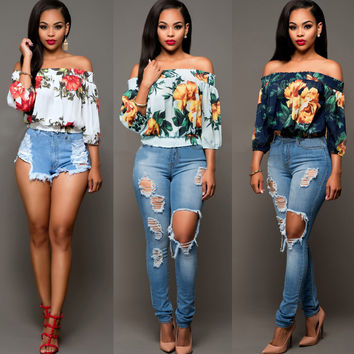 Fashion Retro Multicolor Flower Print Middle Sleeve Off Shoulder T-shirt Tops