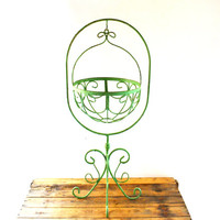 Vintage Iron Plant Stand, Hanging Plant Stand, Wrought Iron Planter, Outdoor Plant Holder, Iron Planter, Green Planter, Metal Plant Stand