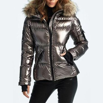 Faux Leather Hooded Metallic Puffer Jacket