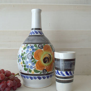 Mexican Ceramic Jug and Glass, White Ceramic Wine Decanter, Hand Painted Mexican Pottery