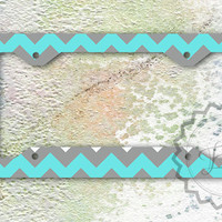License Plate Frame - Tiffany blue and Gray chevron, monogrammed license frames, personalized car tags
