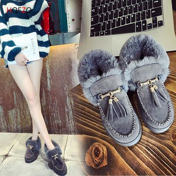 HQFZO Flats Shoes Woman Loafers Slip On Flock Fur Tassels Fashion Casual Female Shoes Woman Winter Shoes Mujer
