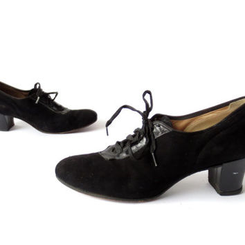 Vintage 1940s Oxfords / 40s Heels / Oxford Heels / 1940s Shoes / Size 7 1/2