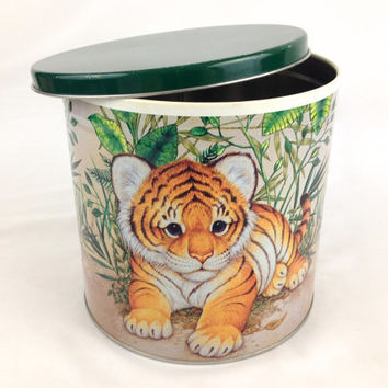 Large Baby Tiger Metal Storage Tin Designed by Carol Bryan Baby Animal Kids Storage Box Nursery Storage Toy Storage Round Tiger Cub Box