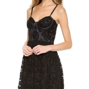 Nwt Jill Stuart Black Lace Corset Bustier Cocktail Dress