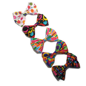 Choose 2 fabric hair bows use with sock buns great for teens - little girls pin up bows for back to school